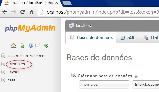 creer base donnee mysql