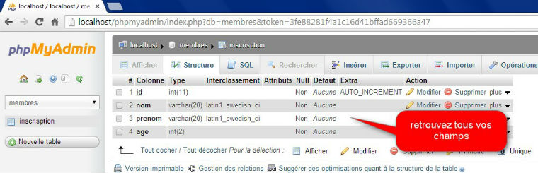 structure table mysql détail