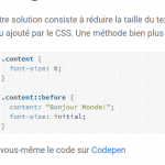 Changer le texte d'un élément HTML avec le CSS